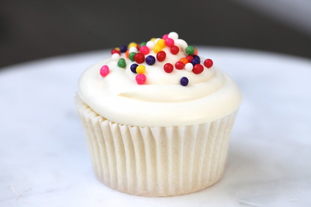 Vanilla Cupcakes with a Double Vanilla Frosting | Jenny Evans